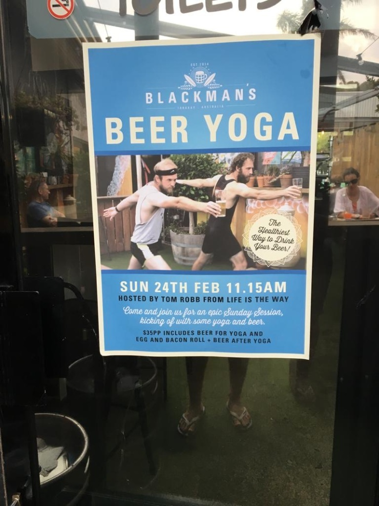 Beer and yoga poster