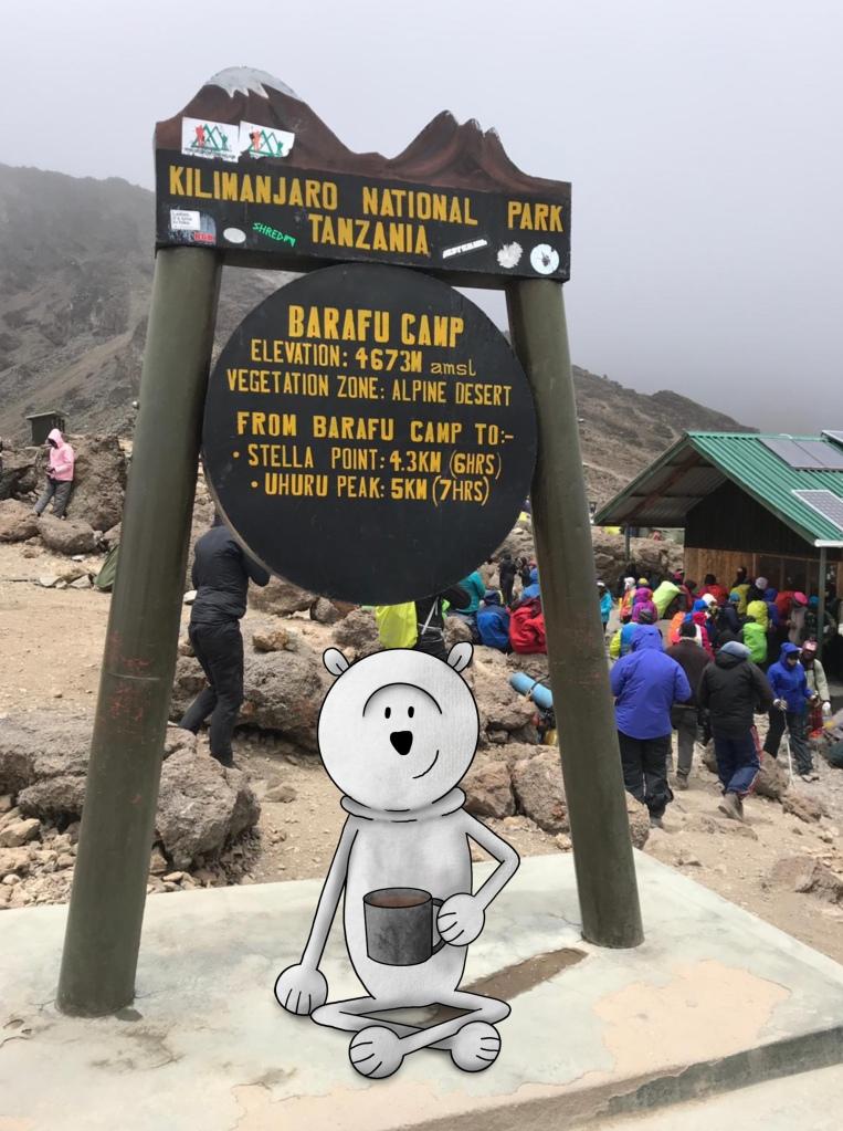 Polie at Barafu Camp Sign